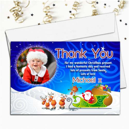 10 Personalised Christmas Xmas Thank you PHOTO Cards N9
